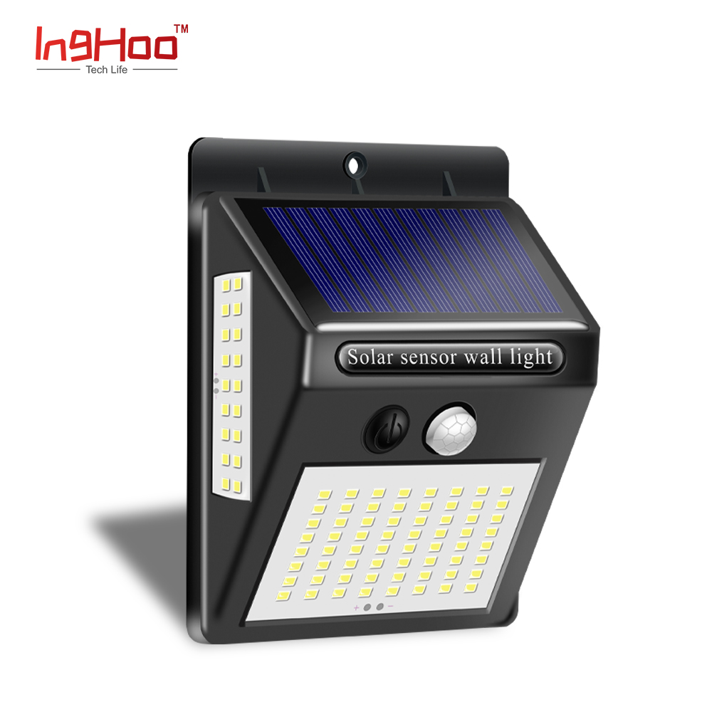 Inghoo Outdoor Solar Lights 100 LED Waterproof Motion Sensor Lights Super Bright Wall Lights For Front Door Back Yard