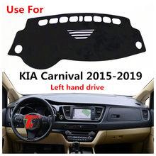 Taijs, крышка автомобильной приборной панели с левым рулем высокого уровня из полиэстерного волокна, коврик для приборной панели для KIA Carnival ...