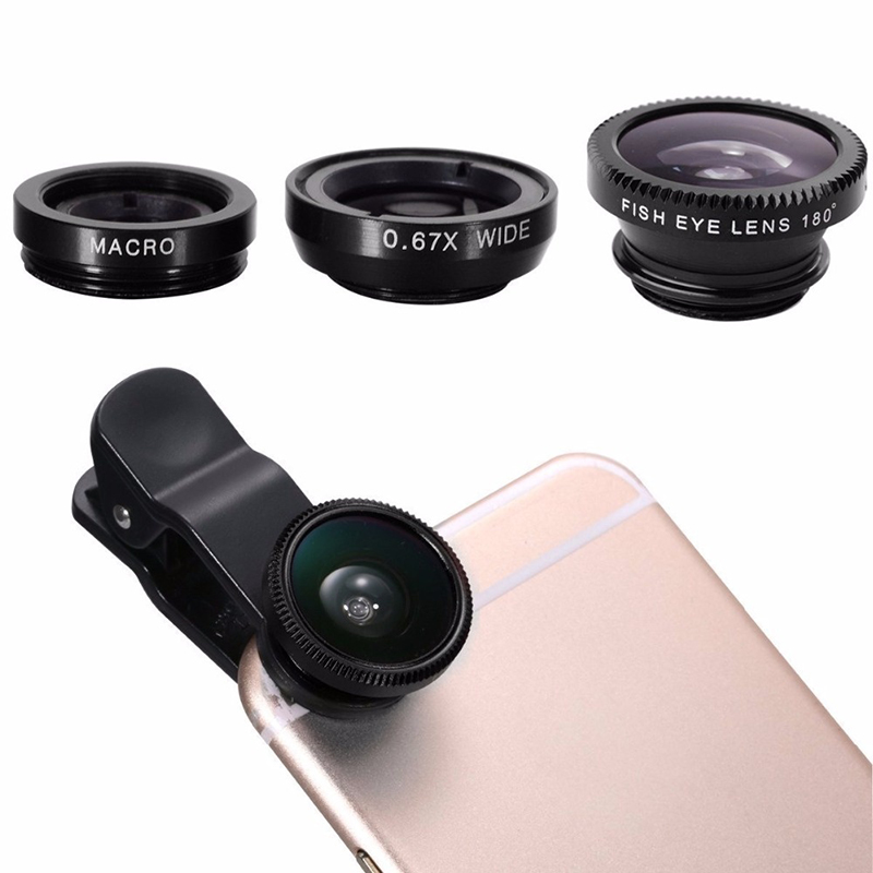 3 In 1 Fish Eye Lens Camera Kits Universal Wide Angle Macro Fisheye For iPhone 11 Pro XS MAX XR X 8 7 6s Plus Ojo De Pez Movil|Mobile Phone Lens|   -