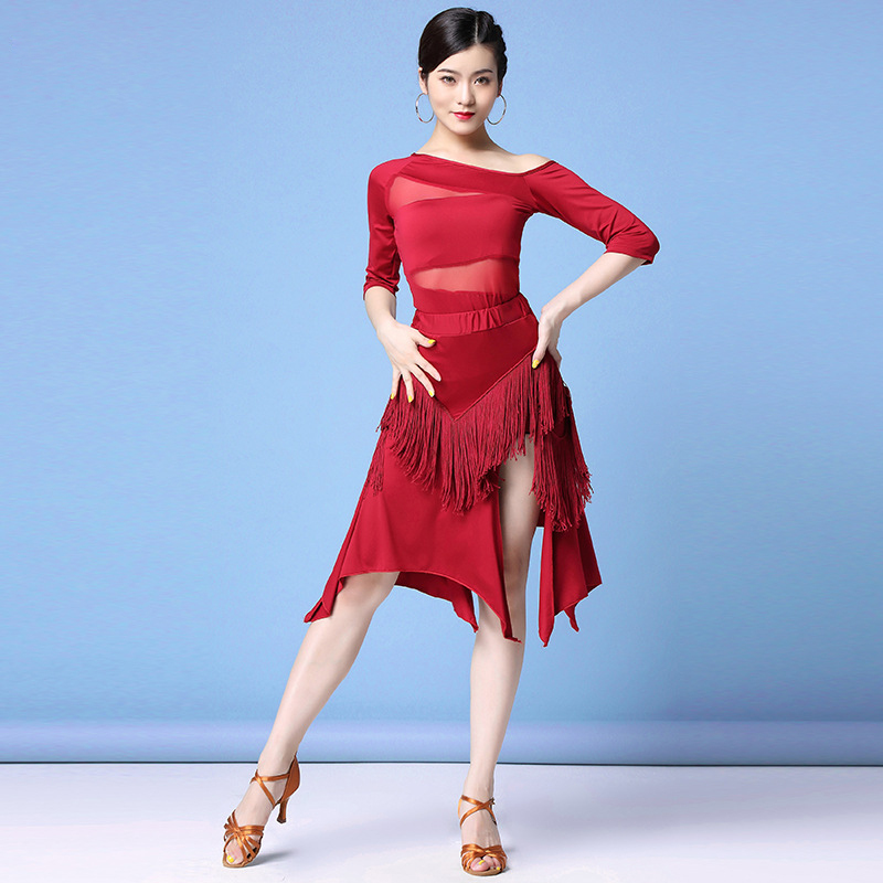 2019 Women Dance Clothes Ballroom Dress Samba Sexy Party Dresses Stretchy Mesh One-piece Elastic Latin Costume (Top + Skirt)