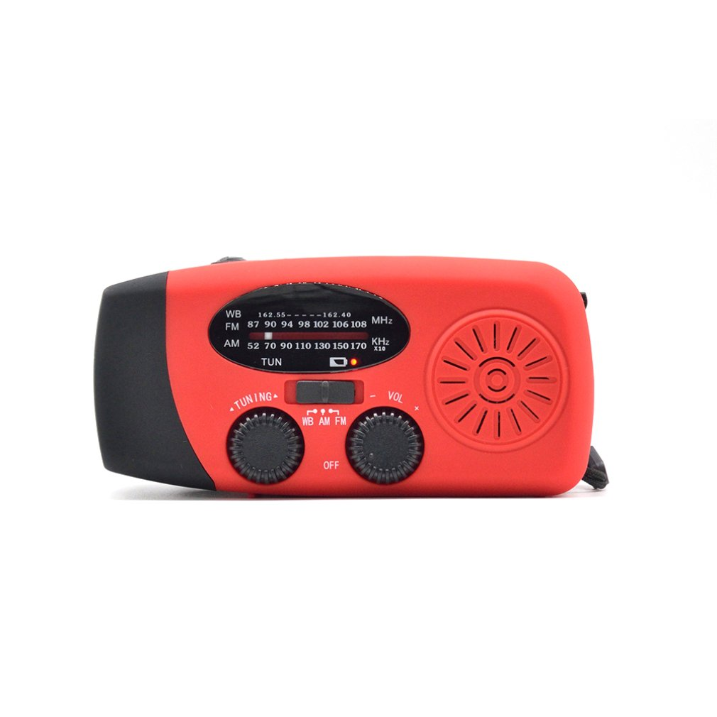 Solar Hand-cranked Radio With Flashlight Charging Radio Usb Interface Digital Display 3 Led Waterproof