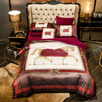 Luxury European Court Bedding set War Horse Printing Winter Thick Fleece Fabric Flannel Velvet Duvet cover Bed sheet Pillowcases