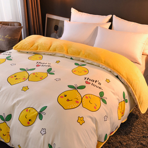 Image 2 - 1 Pc Winter Yellow Pineapple Duvet Cover/ Quilt Cover/Comforter Cover A Side Cotton B Side Fleece Fabric Bedding Quilt