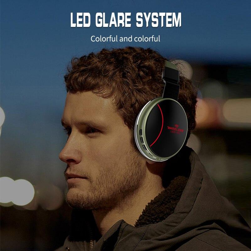 Image 3 - LED 002 Wireless Bluetooth Headset Folding Headphones 3D Stereo Gaming HeadsetBluetooth Earphones & Headphones   -