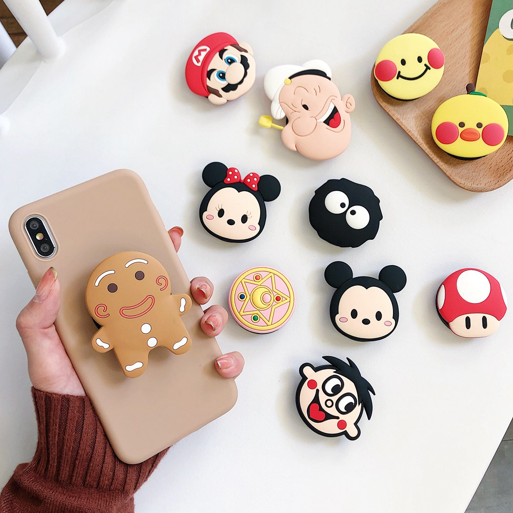 Cute Cartoon Doll Universal Phone Ring Holder Fold Finger Stand Bracket Mount For IPhone 11 Pro XS Max Xiaomi Samsung Huawei