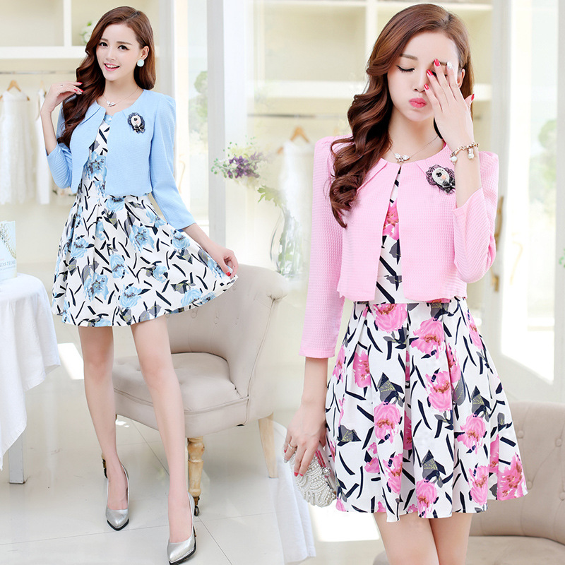 2018 Spring WOMEN'S Dress New Style Printed Long Sleeve Mid-length-Style Two-Piece Set Dress