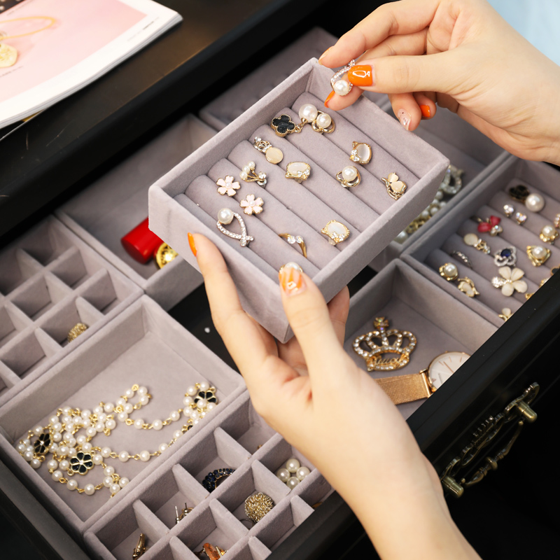 Velvet Jewelry Storage Box Earring Watch Cosmetic Organizer Necklace Jewelry Hair Clip Display Holder Drawer Storage Cabinet