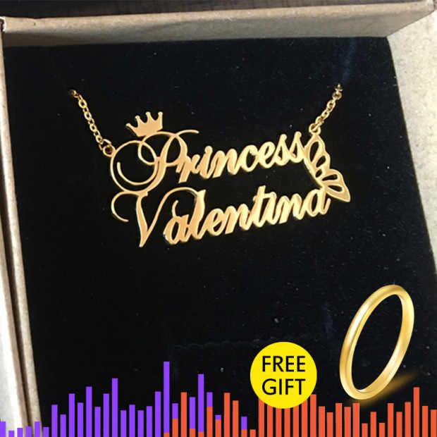 Borboleta e rainha coroa com nome personalizado personalizado colar de aço inoxidável longa corrente colar de natal collier femme bff