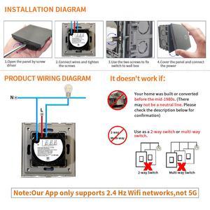 Image 5 - Bingoelec 1ギャング1ウェイwifiスマートスイッチクリスタルガラスパネルウォールライトスイッチスマートホームオートメーションワイヤレス作業のためalexa