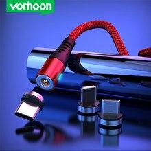 Vothoon 2.4A Tipo C Cabo Micro USB Magnético Cabo de Carregamento USB Para iphone Xiaomi 11Pro Xs Samsung S7 Ímã De Carregamento cabo de fio