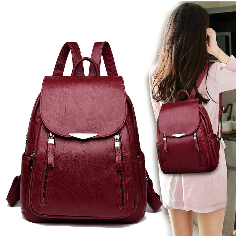 Brand Leather Women's backpack Large Capacity School Bag Casual Backpack for Girls Double Zipper Leisure Shoulder Bags