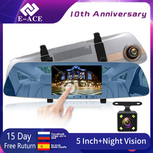 цена на E-ACE Car Dvr Full HD 1080P 5 Inch Touch Screen Video Recorder Night Vision Camera Dual Lens Rearview Mirror Auto Dash Cam