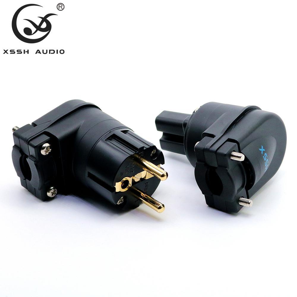 XSSH Audio Hi-end Hifi Pure copper plating gold Rhodium Electrical AC Female Male US Chinese IEC  FI- UK British Connector plug