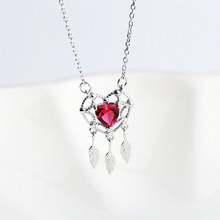 Boho Jewelry 925 Sterling Silver Heart Dreamcatcher Necklace Cute Small Red Heart CZ Stone Dreamcatcher Dangling Charms Necklace(China)