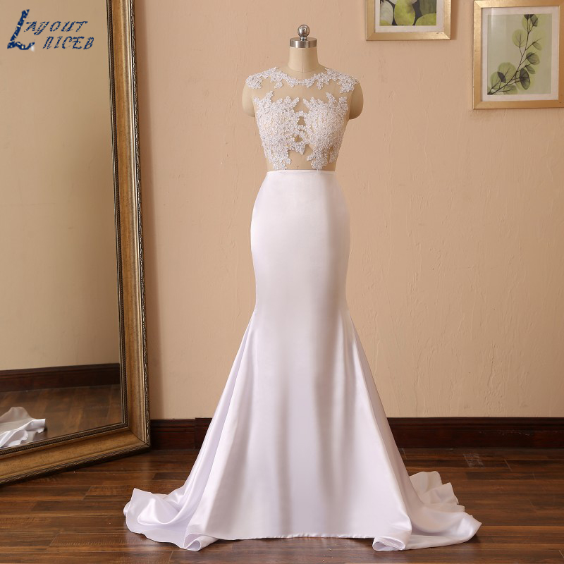 YQS005 Vestido De Noiva Hot Sale Sexy Mermaid Sleeveless Wedding Dress Fish Style Pearls Satin Cut Out Wedding Gown Custom Made