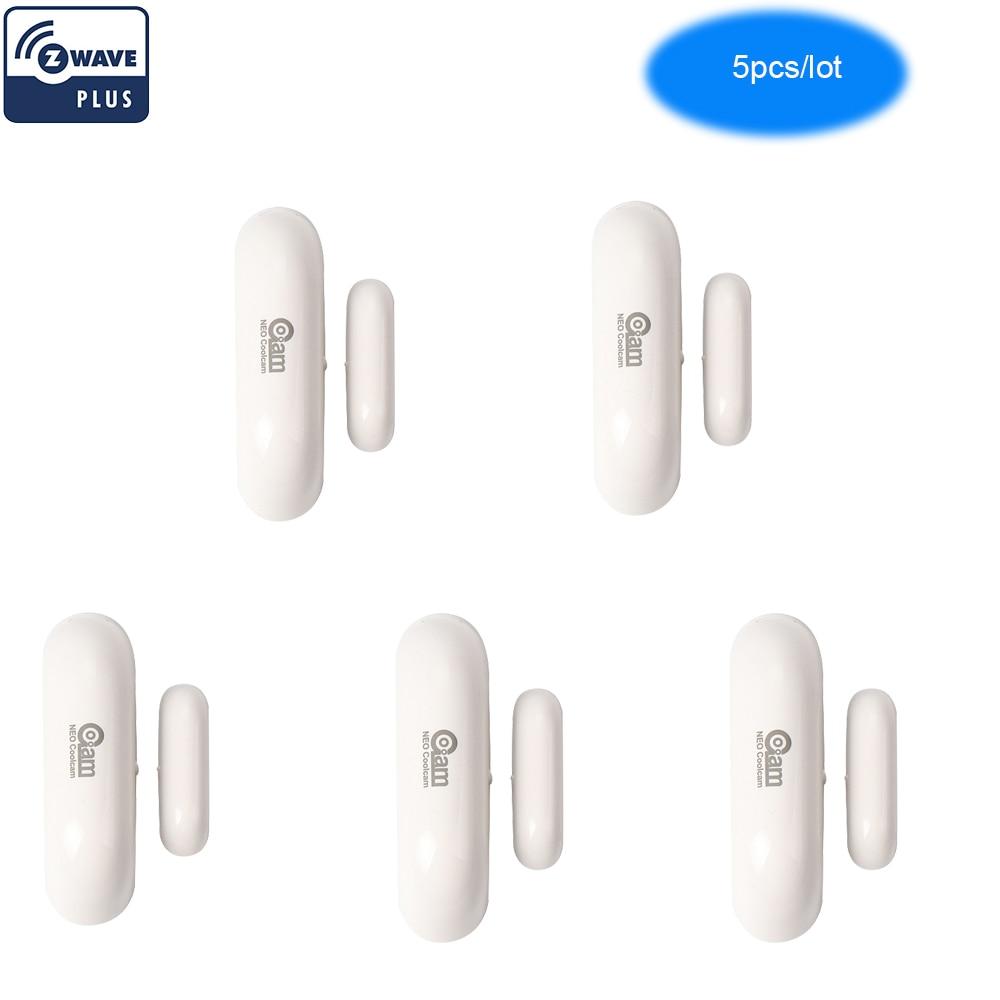 NEO COOLCAM 5PCS/lot Z-wave Plus Door Window Sensor Compatible With Z Wave 300 500 Series Magnet Lock Door Sensor Alarm