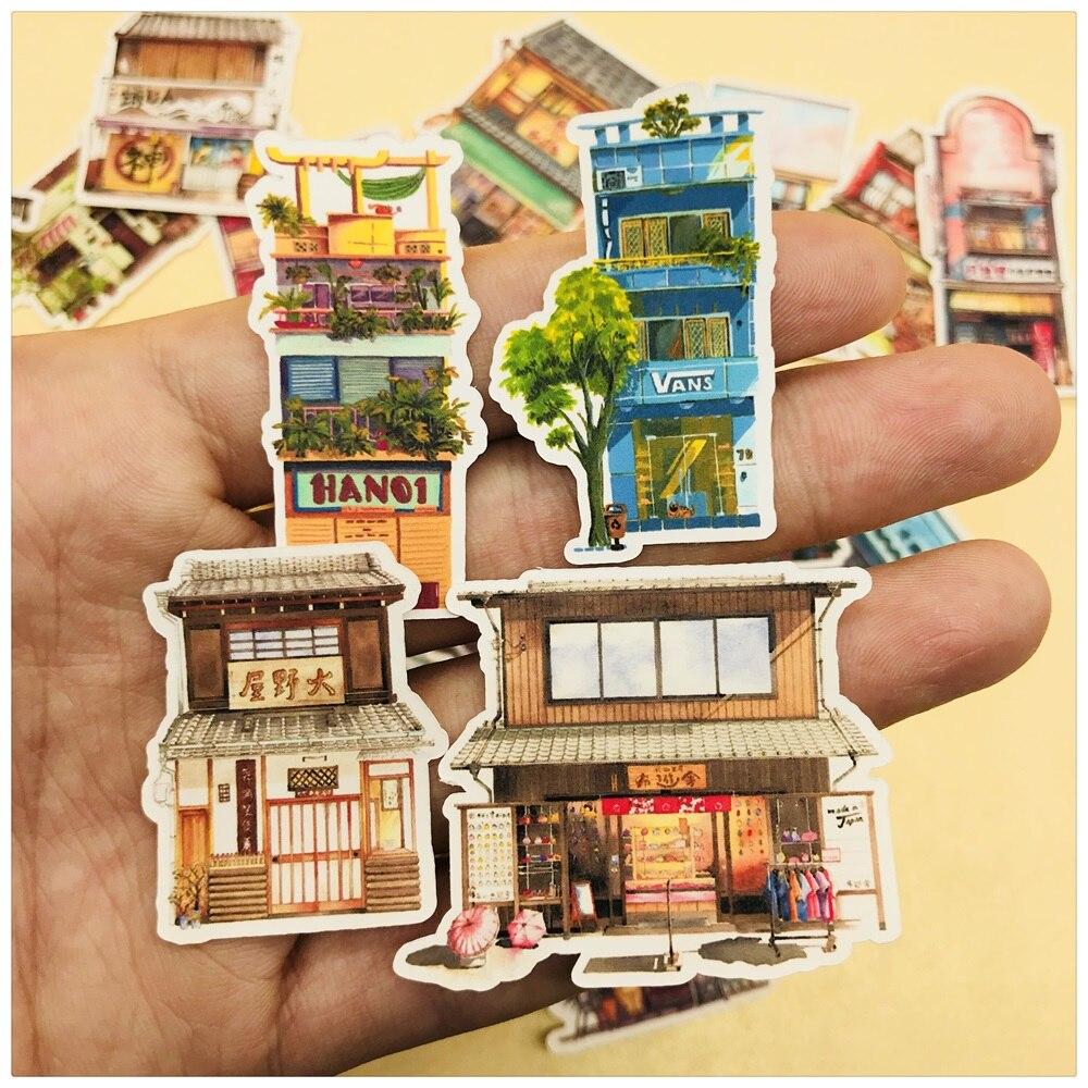 28Pcs/Set Japanese Style Building Sticker DIY Craft Scrapbooking Album Junk Journal Happy Planner Decorative Stickers