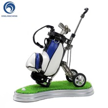 Simulation Leather Golf Pens Holder with Oval Lawn Base ,Unique Christmas Gift for Golfer Coworker Fanatic Fans Desk Decoration