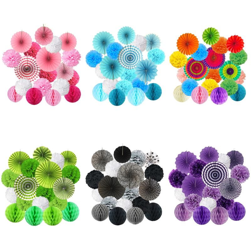 1 Set Colorful Hanging Paper Fan Flower Pompom Honeycomb Balls Wedding Birthday Baby Shower Festival Party Props Decorations