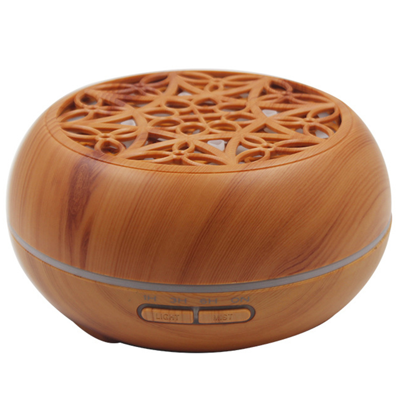 Wood Grain Ultrasonic Aroma Essential Oil Diffuser With Bluetooth Wireless Music Speaker Timer Aromatherapy Air Humidifier 300Ml