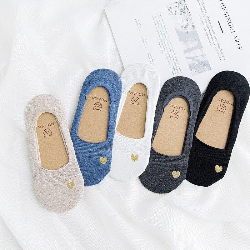 Короткие женские носки-невидимки в форме сердца, Летние удобные хлопковые носки-лодочки для девушек, низкие женские носки