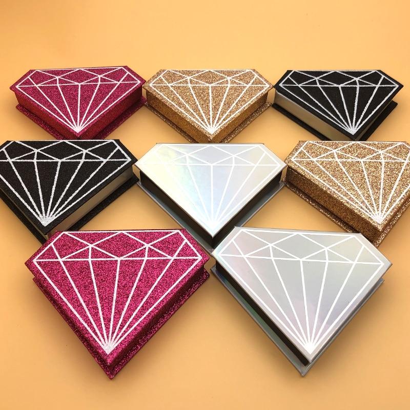 10/20/30/50/100 pièces en gros faux cils emballage boîte faux 3d vison cils boîtes faux cils bande diamant magnétique case vide