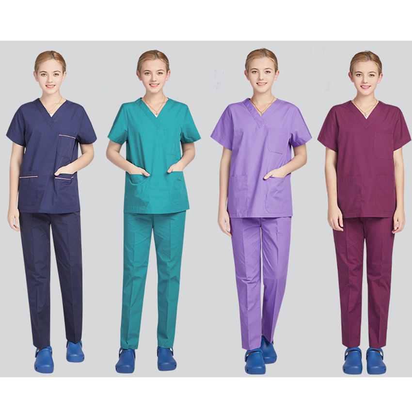 13colors Medical Costumes Nurse Uniform V-neck Clinical Uniforms Woman Lab Surgical Suit Medical Uniforms Man Surgical Cap