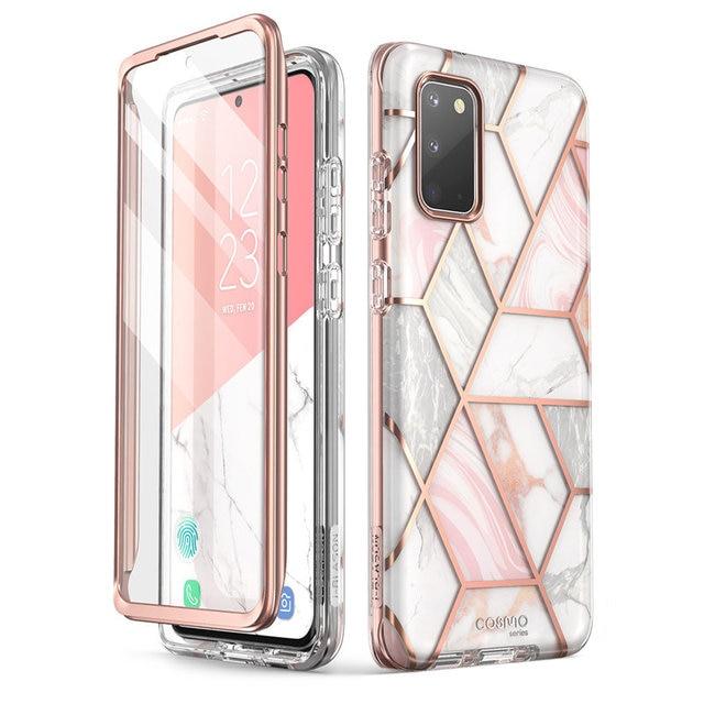 Capa cosmo para samsung galaxy s20/s20 5g, cobertura com glitter e mármore de corpo inteiro, I BLASON protetor de tela integrado