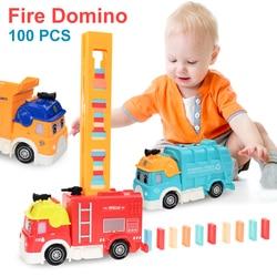 Автоматическая кладка домино кирпич Поезд Автомобиль набор звуковой светильник дети красочные пластиковые домино блоки игра игрушки авто...
