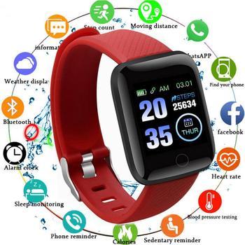 Pulsera inteligente 116 PLUS, reloj inteligente deportivo resistente al agua, con pantalla a Color y control del ritmo cardíaco y de la presión sanguínea