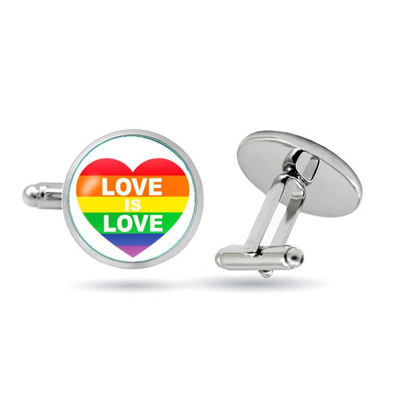 أزرار أكمام موضة جديدة LGBT المثليين الفخر قوس قزح قبة دائرية من الزجاج الكفة الروابط للرجال والنساء مجوهرات اكسسوارات