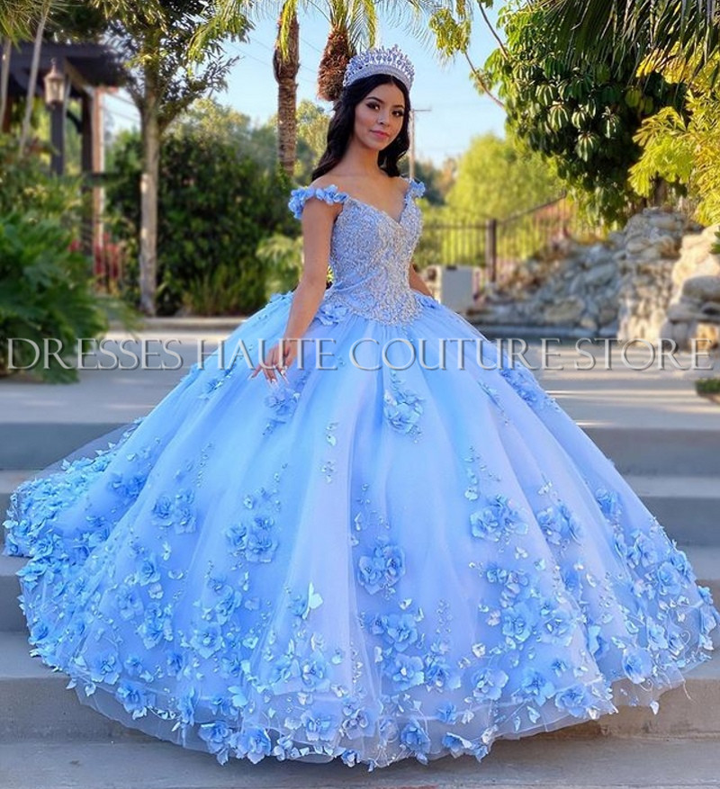 Licht Himmel Blau Quinceanera Kleider Ballkleid Off Schulter 3D Rose Blumen Puffy Süße 16 Kleid Promi Party Kleider Graduation