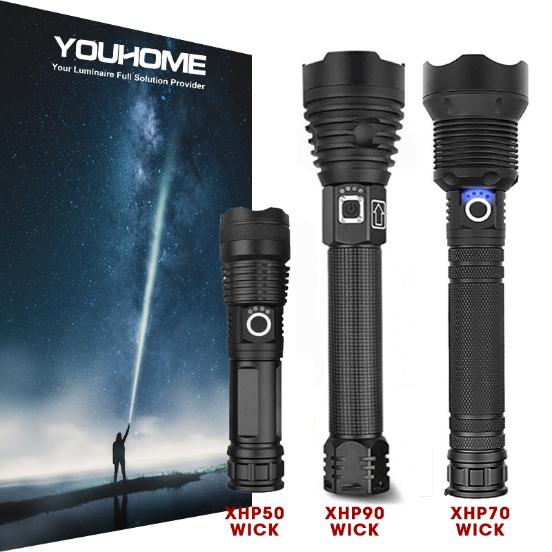 Super Powerful LED Flashlight With CREE XHP90 Zoom Waterproof Torch USB Rechargeable 18650 26650 Battery Camping Hunting Lamp
