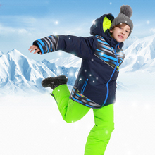 Boy Ski Suit Winter Outdoor Sports Waterproof Snowboard Jacket + Snow Pants Children Skiing Set Hooded Warm and Windproof