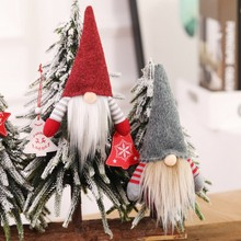 Christmas Handmade Tied Beard Gnome Doll Ornament  Plush Santa Claus Toy Decoration For Home Holiday Kid Gift