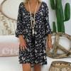 4# Women's Vintage Summer Dress Loose Plus Size Print Dresses V-neck Mini Dress Off Shoulder Dresses Ropa Mujer Beach Dress 2