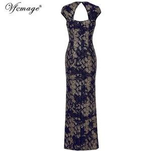Image 5 - Vfemage Womens Vintage Shiny Snakeskin Lace Sexy Keyhole Back Cutout High Slit Formal Evening Wedding Party Maxi Long Dress 060