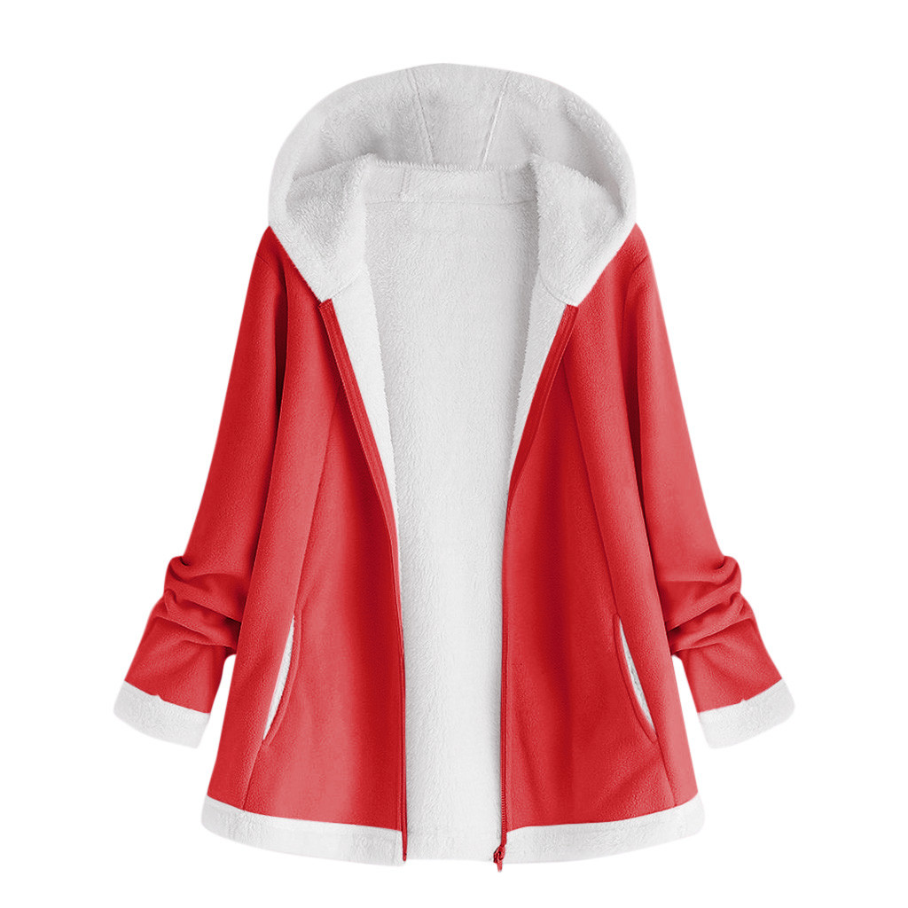 H14ad65df3793477eb31d5ab403c0d088c women's autumn jacket Winter warm solid Plush Hoodie Coat Fashion Pocket Zipper Long Sleeves outwear manteau femme plus size 5XL