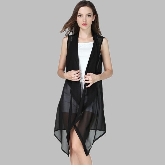 #3537 Summer Vest Women Asymmetrical Chiffon Long Vest Female Loose Thin Vest Waitcoat Ladies Korean Style Cardigan Kimono Vest