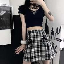 Сексуальная клетчатая юбка мини летняя мода saia высокая талия