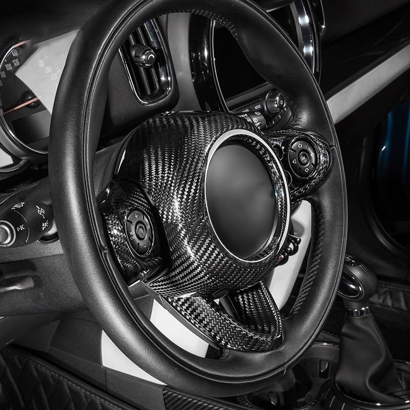 Car Carbon Fiber Accessories Interior Trim Steering Wheel Protection Cover Sticker Car Styling For MINI Cooper S F54 F55 F56 F60