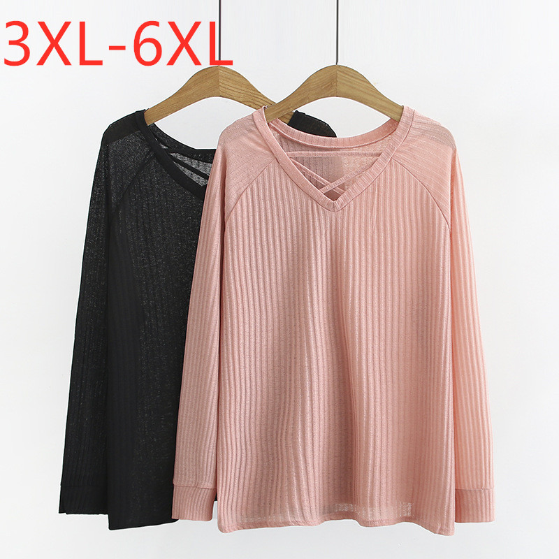 2020 New Korean Style Plus Size Basic Tops Shirt For Women Large Loose Casual Long Sleeve Thin Knit Blouse Pink 3XL 4XL 5XL 6XL