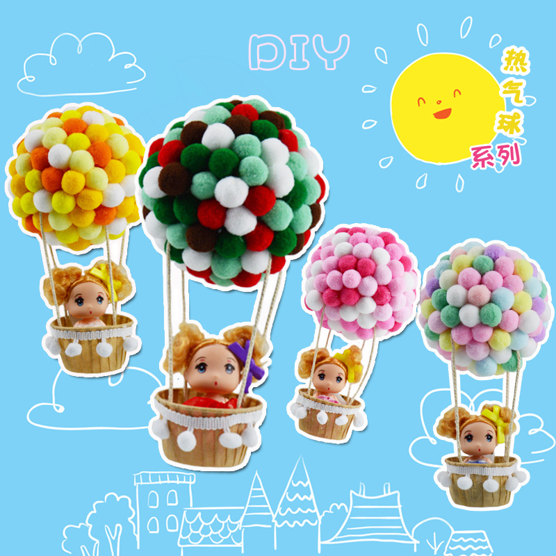 DIY Cartoon Luminous Ball Flash Hot Air Balloon With LED Night Light Handmade Wall Lamp Balloons For Children Room Party Decor