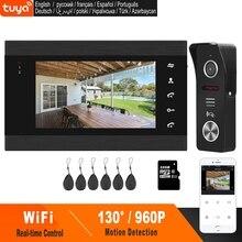 HomeFong Drahtlose Tür Sprechanlage 7 Zoll WiFi Video Gegensprechanlage für Zu Hause 960P Türklingel Unterstützung TUYA Smart APP Telefon Echt zeit Steuerung