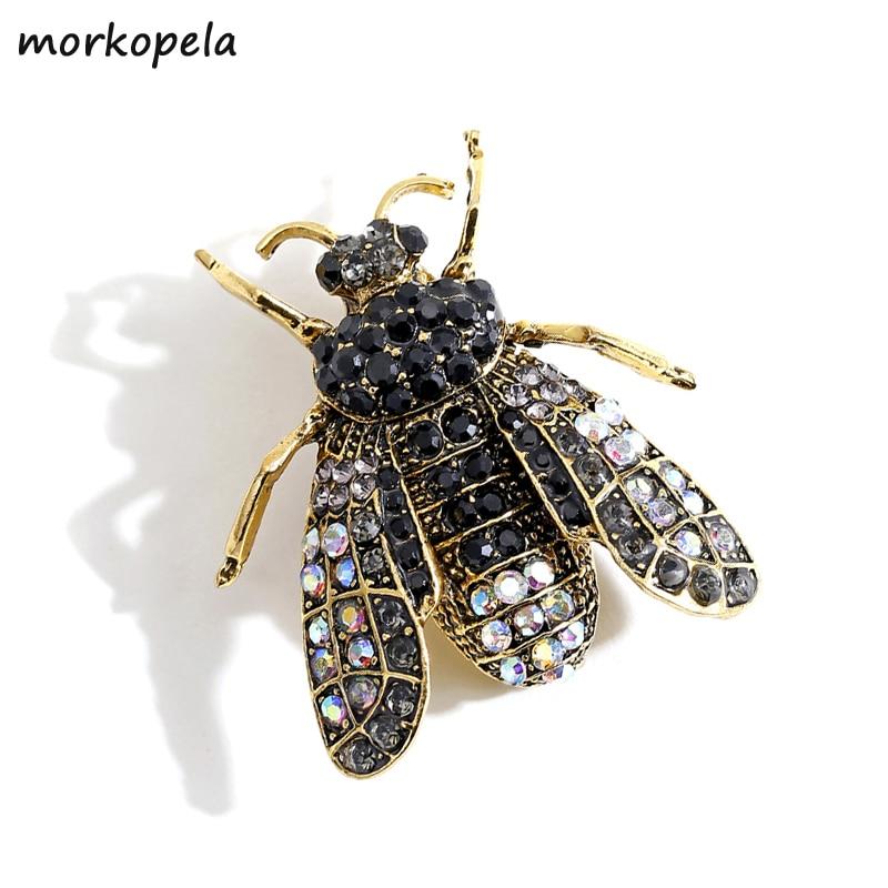 Женская Винтажная брошь-насекомое Morkopela, черная брошь в форме пчелы, стразы, украшение для одежды