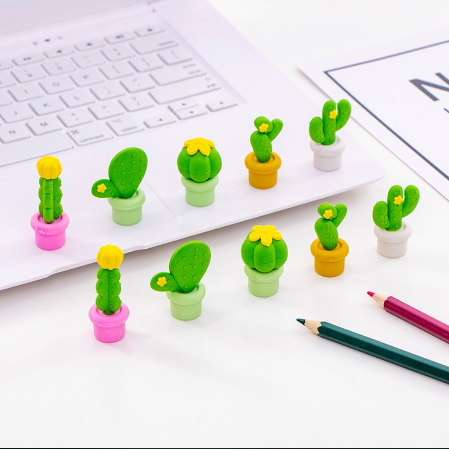 5pcs Cute Cactus Series Eraser Set Kawaii Rubber Erasers Primary Student Prizes Promotional Gift Stationery School Supplies