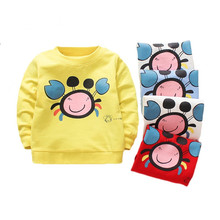 Spring Autumn Cotton Baby Boys T shirt Cartoon Long Sleeves T-shirts For Girls O-neck Baby Clothes Top 2021 New Toddler Tees