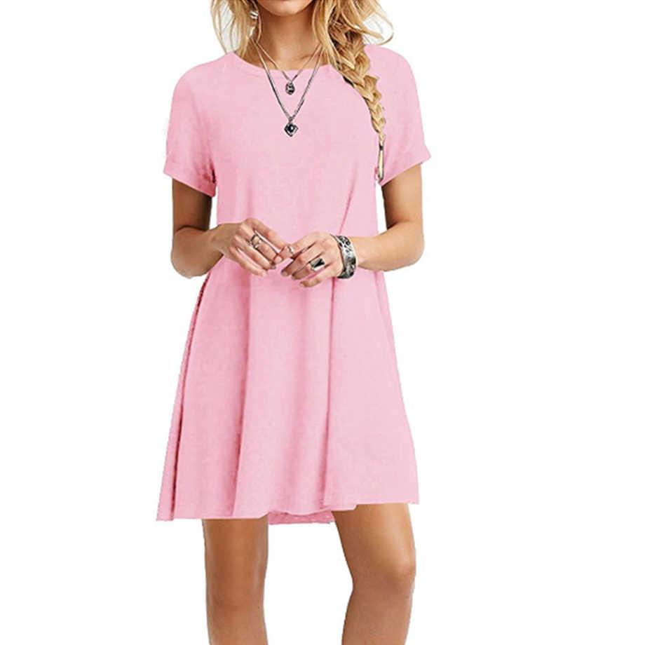 여성 여름 캐주얼 루즈 Boho 귀여운 솔리드 드레스 칵테일 파티 비치 드레스 Sundress 블루 핑크 화이트 드레스