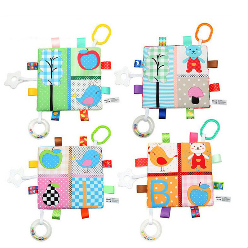 Baby Appease Towel With Teether Rattles Bebe Animals Baby Towel Newborn Sensory Development Educational Toys