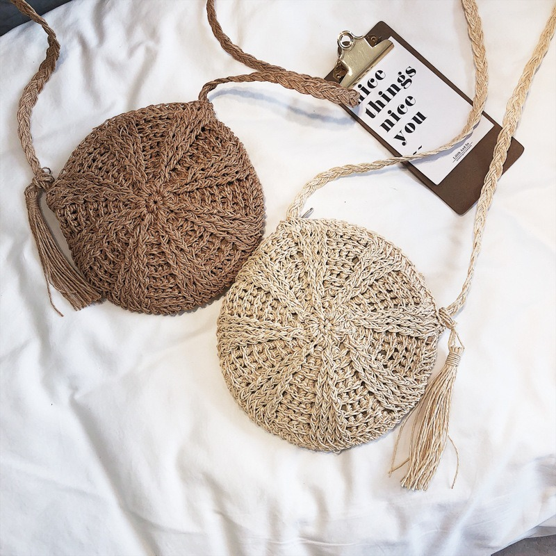 Women Cross Body Bag Round Circular Rattan Wicker Straw Woven Beach Basket Shoulder Bag